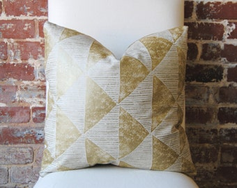 Gilt Triangles - gold -  Pillow Cover - 20 in square - Designer Pillow - Decorative Pillow
