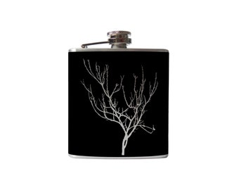 Winter Tree Vinyl Flask- alcohol, liquor, whiskey, wedding, bridal party- Personalized Custom - YOU pick COLOR