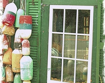Lobster Buoy's, Beach Cottage Decor, Maine Photography, Fine Art Print, Green Shutters, Rustic Cabin, Windows, Maine Coast, Ocean Wall Art