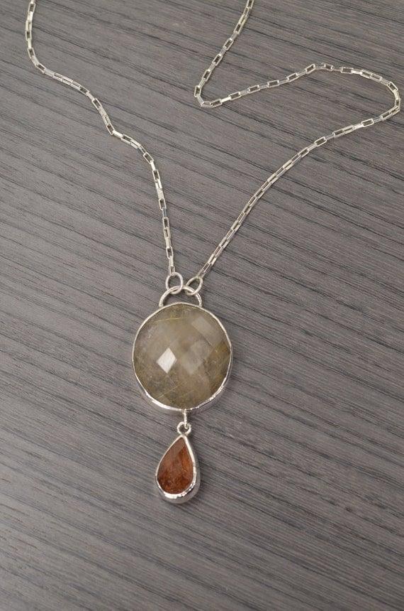 Signet necklace golden rutilated quartz 50ct statement for Golden rutilated quartz jewelry