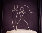Sleek Silhouette Bride and Groom Wedding Cake Topper original wire design by deliziare