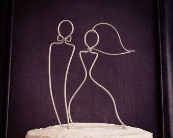 Sleek Silhouette Bride and Groom Wedding Cake Topper original wire design by deliziare