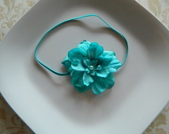 Turquoise flower headband- newborns, babies, girls, women, photo prop