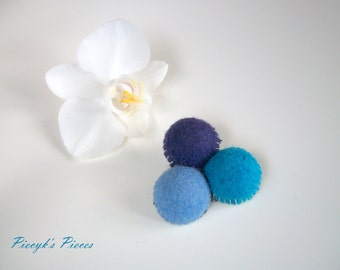 Scoops of Ice Cream - Deep Purple Blue and Dark Turquoise Felt Beads Brooch OOAK