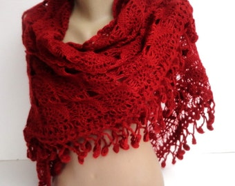 Red Crochet Shawl / Bridal Shawl / Wedding Shawl / Bridal Shrug / Winter Wedding / Bridal Bolero / Bridal Cover Up / Winter Accessories