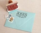 Custom return address stamp BIG SUR DESIGN with  wood handle - custom address stamp - wedding stamp large last name