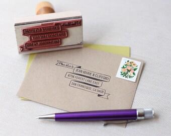RSVP envelope address stamp - BANNER DESIGN - with wood handle - rsvp address stamp