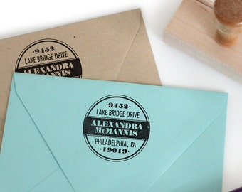 Custom return address stamp PAINT CAN DESIGN with wood handle