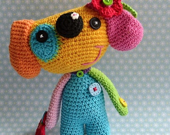 Crochet pattern- rainbow dog by VendulkaM crochet, amigurumi/toy pattern,DIY, PDF