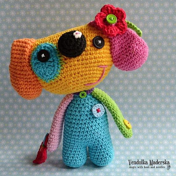 Crochet pattern- rainbow dog by VendulkaM crochet, amigurumi/toy pattern,DIY, PDF