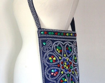 Fringe Tote / Hippie Boho Bag / Festival Bag / Plastic Bead Bag / Embellished Shoulder Bag