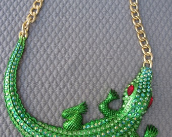 Fun and Beyond Bold Gigantic Green Alligator Crocodile Necklace