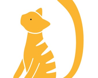 Tabby Cat Wall Stencil for Painting Kids or Baby Room Mural  (SKU323-istencil)