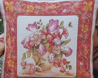 Marie Barber FRENCH Floral Pillow or Picture Flowers Botanicals - Counted Cross Stitch Pattern Chart - fam