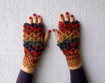 Fingerless Gloves Handmade arm warmers Winter glowes Wrist warmers Crochet mittens multicolored in orange beige petrol Fall Accessories