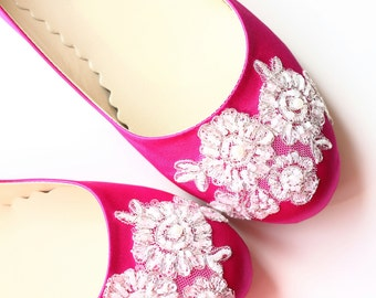 Wedding Flat Shoes Fuchsia Pink Satin Bridal Ballet Flats with Beaded Lace Bride Engagement Special Night Size 8 (US)