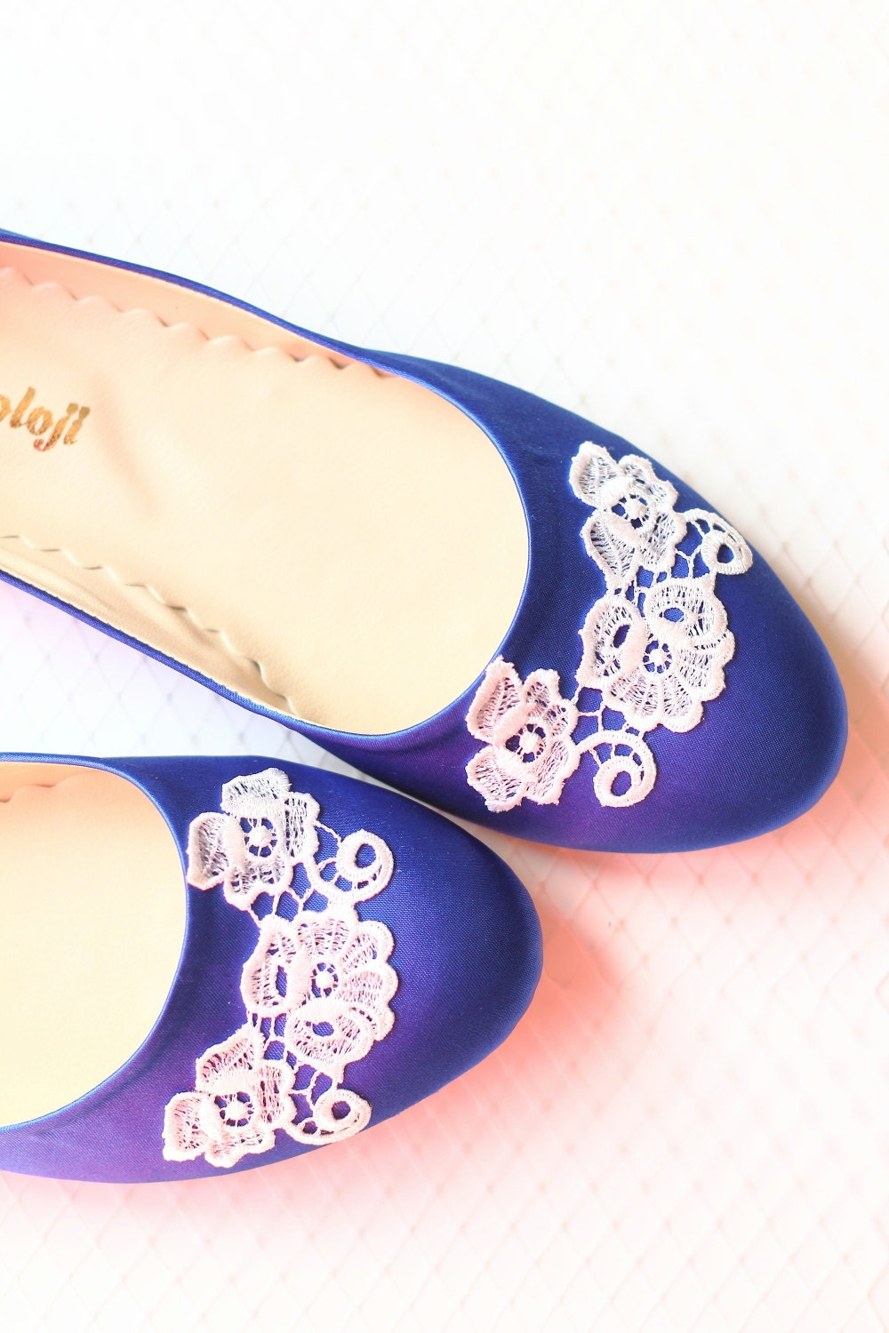 wedding flat shoes cobalt blue satin bridal ballet by demetoloji