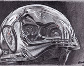 Reflections - Harley Davidson A4 A3 or A2 Size Limited Edition Art Print of original drawing by English Artist Stephen Russell  - RussellArt