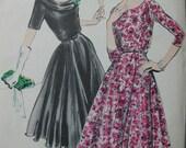 Fabulous Vintage 50's Misses' Pattern VOGUE COCKTAIL DRESS Factory Folded