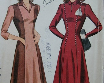 Fabulous Vintage 40's Misses Dress Pattern SIMPLE TO MAKE Factory Folded
