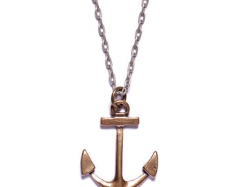 Mens Necklace - Mens Jewelry - Bronze Anchor Necklace - Silver Chain -