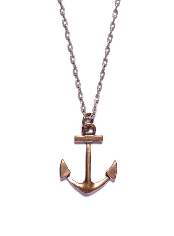 The men's stainless steel large anchor pendant necklace with text from Hebrews is a visible sign of your faith in the Lord. At inches long and inches wide, the stainless steel pendant looks like a ship's anchor and comes with a inch stainless steel curb chain.
