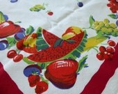 Reserved for Jimmie Vintage Fruit Tablecloth Watermelon Cherries Red border Heavy Cotton