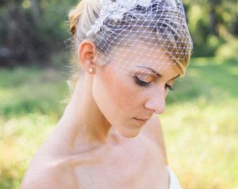 Wedding veils, silver crystal lace Birdcage veil , petite birdcage veil- celestyn