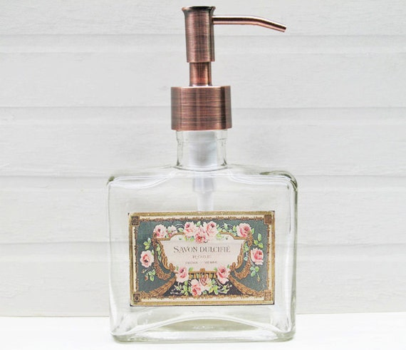 Glass Soap Dispenser Chic French Rose Soap Label By