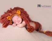 Crochet Lion Hat with DIAPER COVER & TAIL - Newborn Photo Prop - Girl Or Boy - Newborn