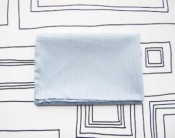 Soft pastel blue polka dots pocket square