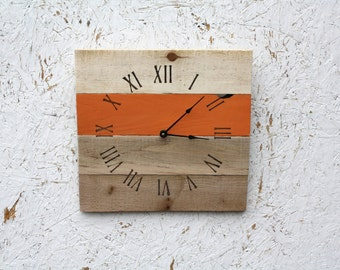 RUSTIC Pallet Wood Clock...Warm Orange or CUSTOM color.  BCotta.  Wedding gift.  Housewarming.  Reclaimed Wall Clock