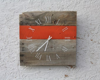 Reclaimed wood wall clock.  RUSTIC yet Modern. Pallet Wood Clock..bright, beachy, orange or CUSTOM