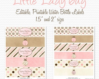 Water Bottle Labels, Pink and Brown Ladybug Baby Shower Decor, Birthday Party Decorations, Favors -- Editable, Printable, Instant Download