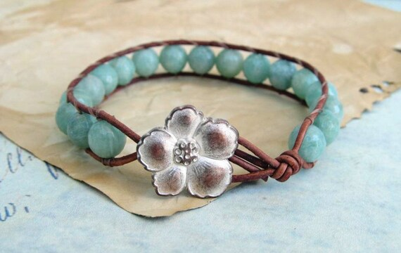 Bohemian Leather Wrap Bracelet, Amazonite beads, earthy