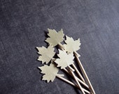 Gold Shimmer Maple Leaf Cupcake Toppers, Party Decor, Double-Sided,  Wedding Decor, Showers, Thanksgiving, Autumn, Fall, Set of 15