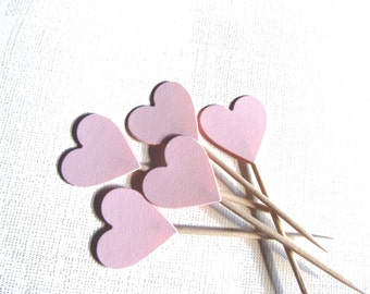 24 Pink Heart Cupcake Toppers, Party Decor, Weddings, Showers, Love, Baby, Girl,  Valentine's Day