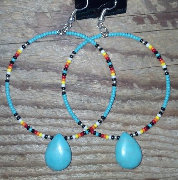 Native American Style Beaded Teardrop Hoop Earrings By