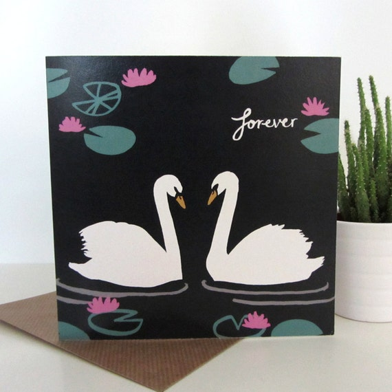 Recycled greetings card with envelope: Forever Swans