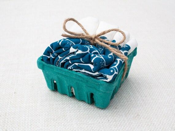 Set of Four Blueberry Flour Sack Napkins