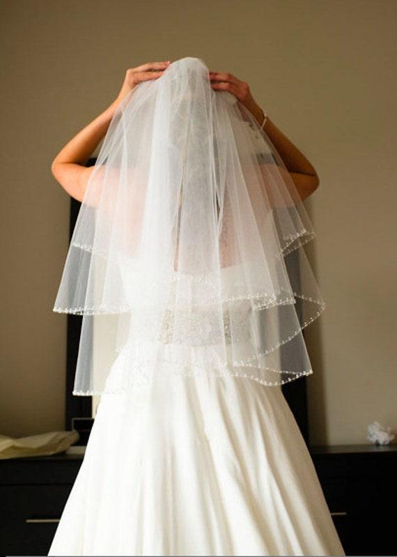 Pearl Beaded Wedding Veil Circular Cut Bridal Veil Ivory White Diamond White Elbow Length, Two Tier