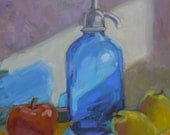 """New """"Fruit Seltzer"""" on the menu 12"""" x 12"""" oil on gessoboard"""