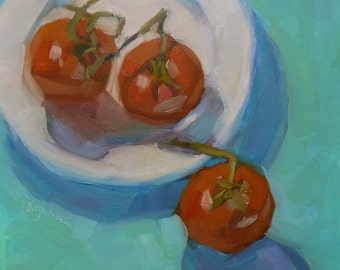 """New Oil 8"""" x 8"""" Red Tomatoes on Turquoise Painting on Panel"""