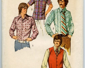 1970s Mens Vintage Sewing Pattern Simplicity 5047 Long or Short  Sleeve Front Button Shirt & Vest  Chest 36 UNCUT