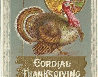 Turkey & Pumpkin Arrangement plus Country Harvest scene 1910 Vintage Postcard Embossed Thanksgiving Greeting