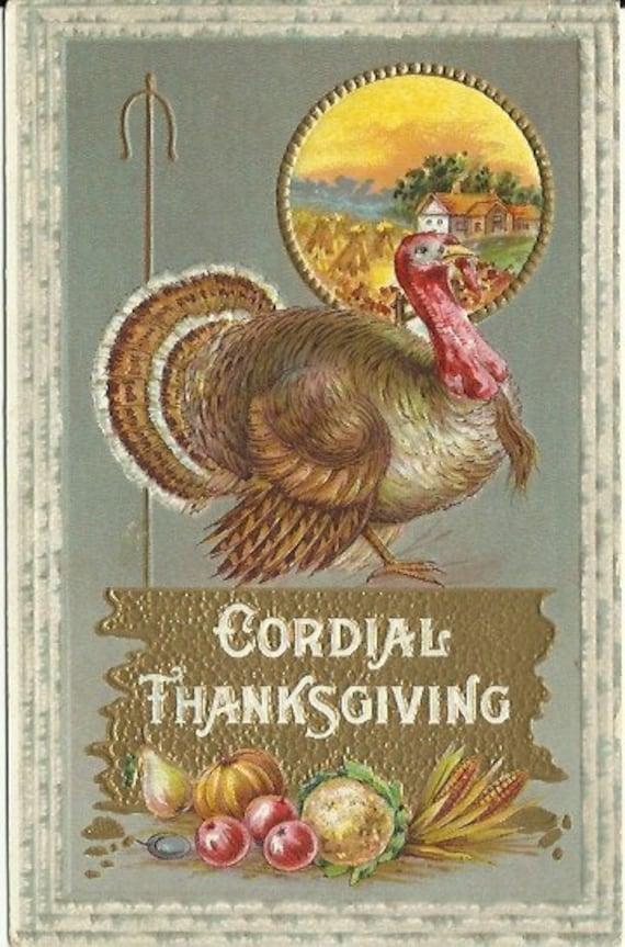 Antique Postcard Vintage Cordial Thanksgiving - Turkey & Pumpkin Arrangement plus Country Harvest scene 1910 - Embossed - Autumn