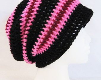 long slouch beanie black, pink, red striped hand crochet unisex fits teens and adults