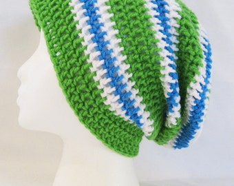 long slouch beanie green, blue, white striped hand crochet unisex fits teens and adults