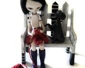 Custom Art Doll - OOAK Art Doll - Girl Knitting - Dog Art Doll