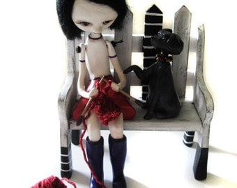 Custom Art Doll - OOAK Art Doll - Girl Knitting - Dog Art Doll